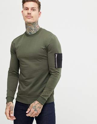 Asos DESIGN muscle sweatshirt in khaki with contrast MA1 pocket