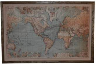 One World World Map With Lights