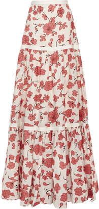 Alexis Serri Printed Linen Maxi Skirt