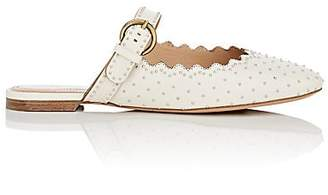 Chloé Women's Studded Leather Buckle-Strap Mules - White