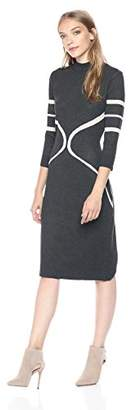 Gabby Skye Women's 3/4 Sleeve Mock Neck Midi Sweater Sheath Dress