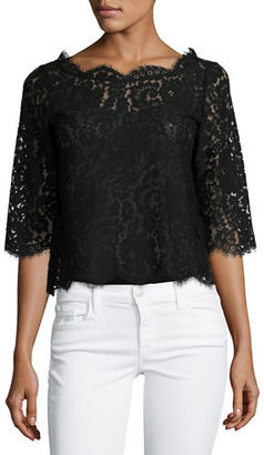 Joie Elvia Scalloped Lace Crop Top $218 thestylecure.com
