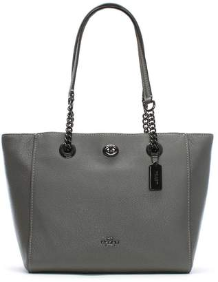 Coach Turnlock Chain Heather Grey Leather Tote Bag