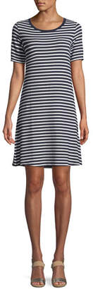 Neiman Marcus Majestic Paris for Striped Short-Sleeve Jersey Shift Dress