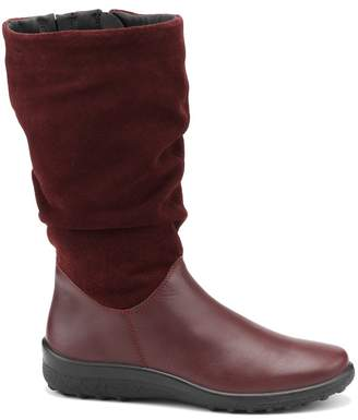 Hotter Maroon 'Mystery' Wide Fit Calf Boots