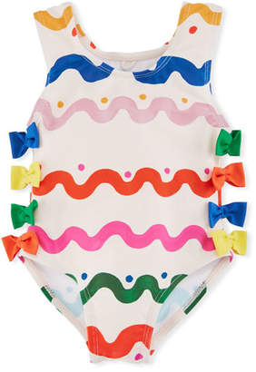 Stella McCartney Lisa Squiggly-Print One-Piece Swimsuit w/ Bows, Size 12-36 Months