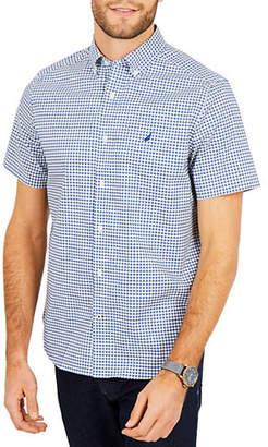 Nautica Plaid Classic-Fit Short-Sleeve Logo Shirt