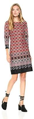 Nine West Women's Geo Border 3/4 Sleeve Scuba Dress