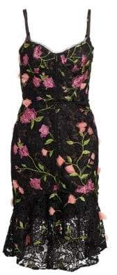Marchesa Women's Floral Embroidered Sleeveless Corset Dress - Black - Size 0