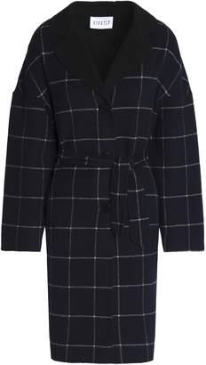 Claudie Pierlot Belted Checked Wool-blend Felt Coat