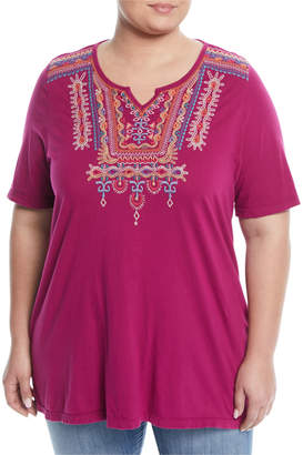Johnny Was Annika Half-Sleeve Boho Tunic Tee, Plus Size