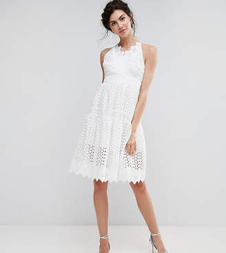 True Decadence Tall Wrap Front Allover Lace Crochet Full Prom Dress