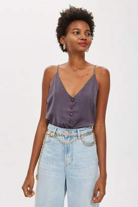 Topshop Satin Button Through Cami Top