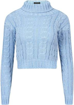 at Amazon Canada · RIDDLED WITH STYLE Ladies New Knitted Polo Neck Chunky  Knit Cable Jumper Womens Cropped Sweater Top 21cecf316