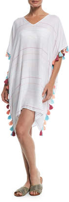 Seafolly V-Neck Striped Kaftan Coverup w/ Tassel Trim, One Size