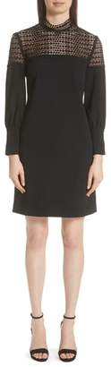 Lela Rose Dot Lace Yoke Dress