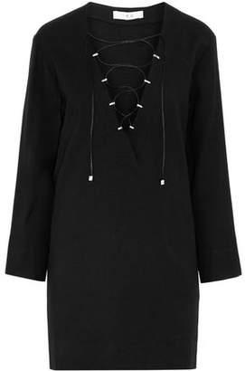 IRO Lace-Up Wool-Blend Crepe Mini Dress
