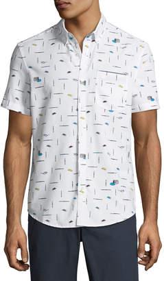 Original Penguin Men's Paintbrush-Print Short-Sleeve Button-Front Casual Shirt