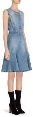 Alexander McQueen Paneled Denim A-Line Dress