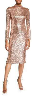 Theia Love, Sequin Mock-Neck Long-Sleeve Sheath Dress