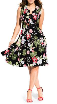 City Chic Floral Print Fit & Flare Dress