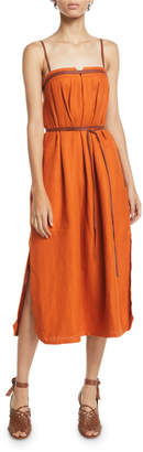 Loro Piana Naille Antigua Linen Sundress with Leather Strapping
