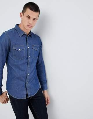 Lee Jeans Pindot Button Down Denim Shirt in Deep Indigo