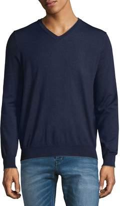 Thomas Dean Men's V-Neck Merino Sweater