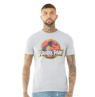 Jurassic Park Mens Distressed Logo T-Shirt Grey Marl