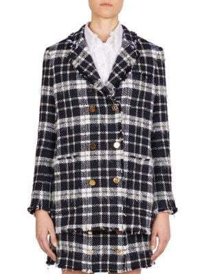 Thom Browne Double-Breasted Wool-Blend Tartan Blazer