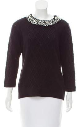 Karl Lagerfeld Paris Long Sleeve Knit Sweater Black Long Sleeve Knit Sweater