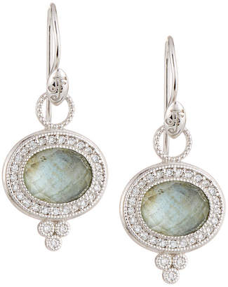 Jude Frances 18K Provence Pavé Oval Dangle & Drop Earrings with Labradorite