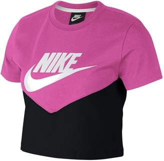 Next Womens Nike Heritage Pink/Black Colourblock Cropped Tee
