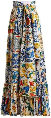 Dolce & Gabbana Majolica-print tiered cotton maxi skirt