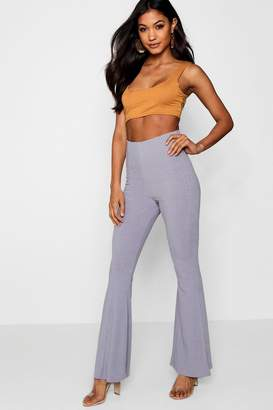 boohoo Ribbed Flare Trousers