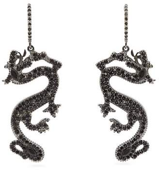 Valentino Dragon Crystal Embellished Drop Earrings - Womens - Black
