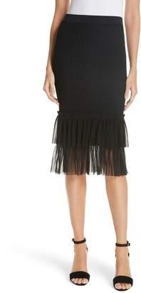 Jonathan Simkhai Pleated Tulle Hem Ottoman Knit Skirt