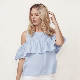 Women's LC Lauren Conrad Cold-Shoulder Chambray Shirt $40 thestylecure.com