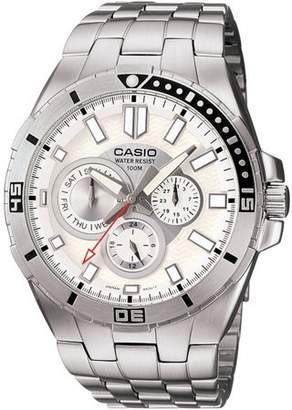 Casio Men's White Dial Dive-Style Watch, Stainless Steel Bracelet