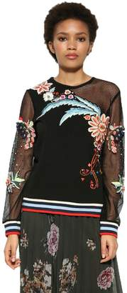 Desigual Women's Floral Embroidery Brigitte Sweater XL UK 16