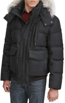 Andrew Marc Bohlen Coyote Fur-Trimmed Hooded Bomber Jacket