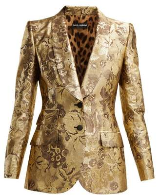 Dolce & Gabbana Single Breasted Floral Jacquard Blazer - Womens - Gold