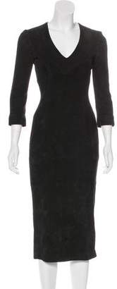 L'Wren Scott Suede Leather Midi Dress