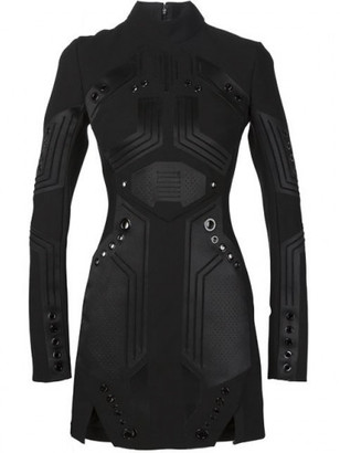 Mugler eyelet detail panelled dress $8,800 thestylecure.com