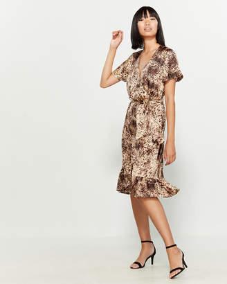 Lush Leopard Print Faux Wrap Dress