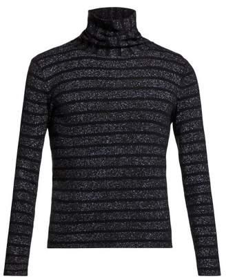 Saint Laurent Striped Roll Neck Sweater - Mens - Black Silver