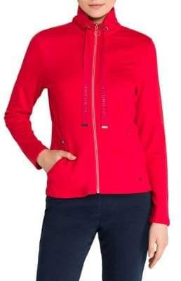 Olsen Color Love Tie-Neck Zip Front Jacket