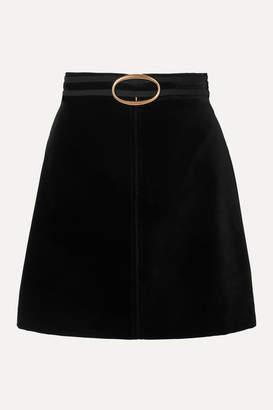 Vanessa Bruno Jiany Embellished Grosgrain-trimmed Cotton-blend Velvet Mini Skirt - Black