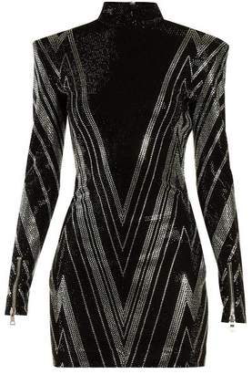 Balmain Chevron Crystal Embellished Mini Dress - Womens - Black Silver