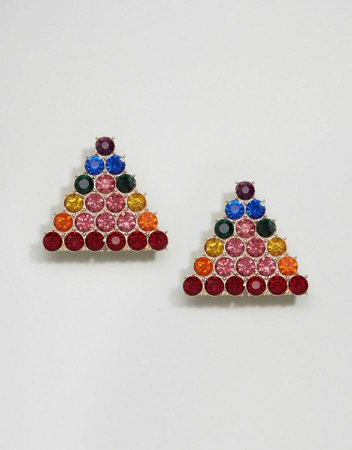Asos Statement Rainbow Stud Earrings